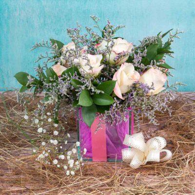 Arreglo de Flores en Vidrio